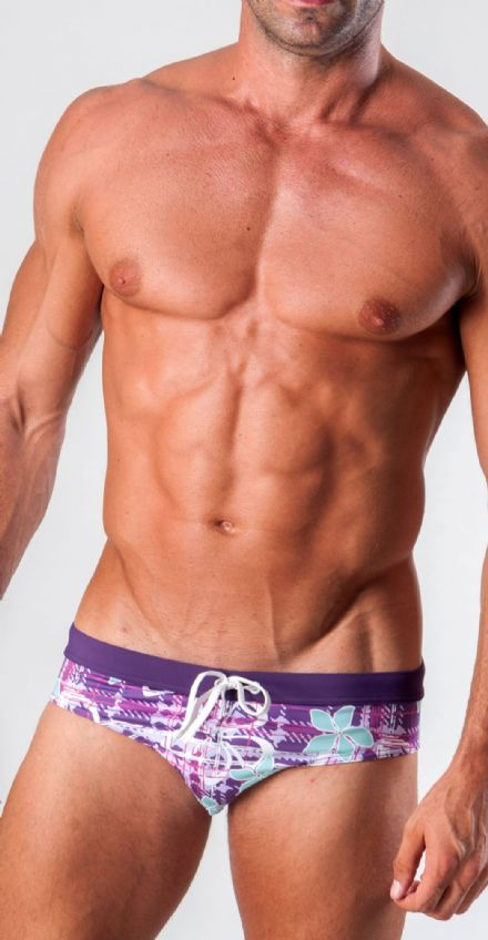 Geronimo Mens Low Rise Brief Trunks Purple 15013